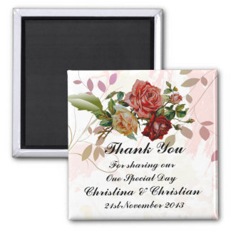 Three Rose Floral Wedding Bomboniere Thank You Square Magnet