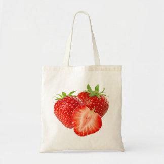 Three strawberries budget tote bag