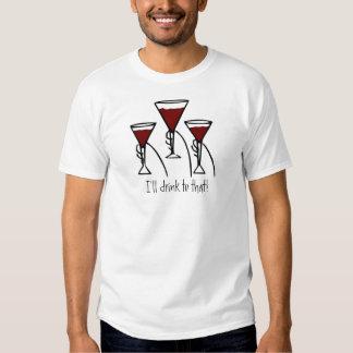 Three Wine Glasses in Hands Cartoon T-shirts