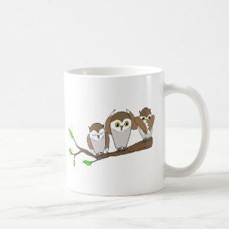 three wise owls basic white mug