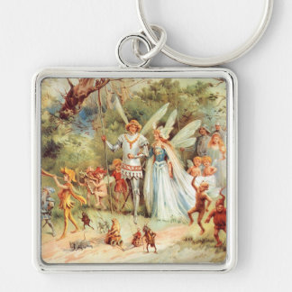 Thumbelina's Wedding in the Forest Silver-Colored Square Key Ring