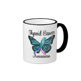 Thyroid Cancer Butterfly Ribbon Ringer Mug