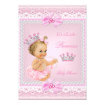 Tiara Girl Princess Baby Shower Pink Pearls Blonde 13 Cm X 18 Cm Invitation Card