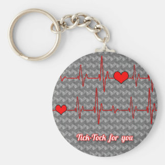 Tick tock for you basic round button key ring