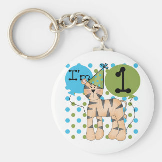 Tiger 1st Birthday T-shirts and Gifts Basic Round Button Key Ring