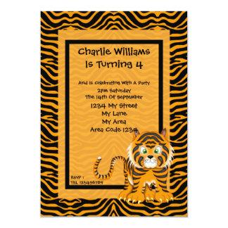 Tiger Birthday Party 13 Cm X 18 Cm Invitation Card