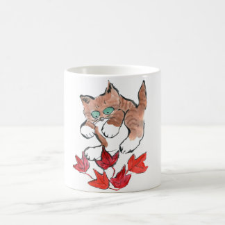 Tiger Kitten is about to Pounce on 5 Maple Leaves Basic White Mug