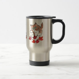 Tiger Kitten is about to Pounce on 5 Maple Leaves Stainless Steel Travel Mug