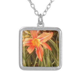 tiger lily square pendant necklace