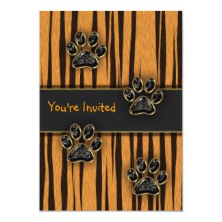 Tiger Paw Child Birthday Party 13 Cm X 18 Cm Invitation Card