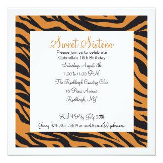 Tiger Print Girls Sixteenth Birthday Invite
