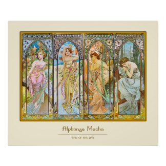 Time of the Day, Alphonse Mucha Poster