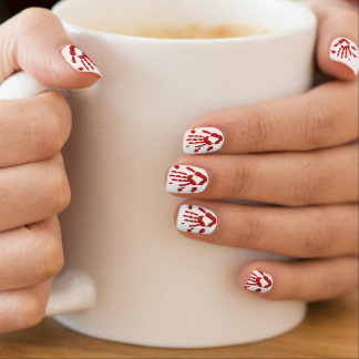 Tiny Bloody Hand Prints Blood Spattered Nail Wraps