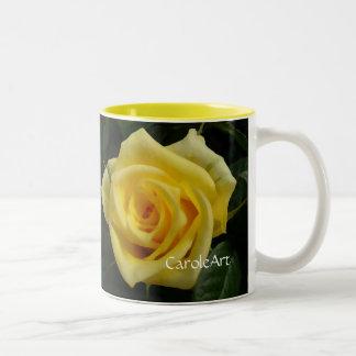 Tiny Yellow Painted Rose Two-Tone Mug