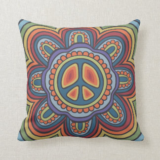 TJP Vintage Colors Peace Flower Hippie Cushions