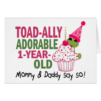 Toadally Adorable 1-Year Old Greeting Card