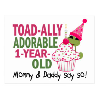 Toadally Adorable 1-Year Old Postcard