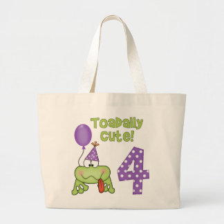 Toadally Cute 4th Birthday Jumbo Tote Bag