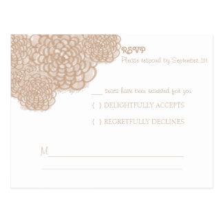 Toasted Almond Hydrangea Wedding Response Card Postcard