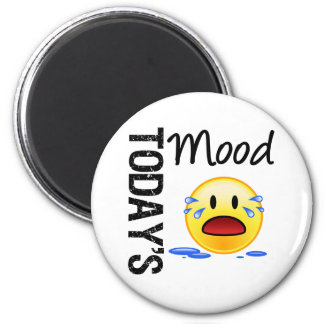 Today's Mood Emoticon Crying 6 Cm Round Magnet