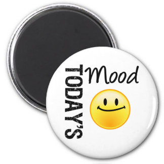 Today's Mood Emoticon Satisified 6 Cm Round Magnet