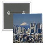 Tokyo, Shinjuku District Skyline, Mount Fuji, 15 Cm Square Badge