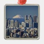 Tokyo, Shinjuku District Skyline, Mount Fuji, Silver-Colored Square Decoration