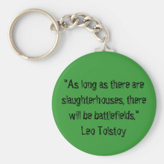 Tolstoy Vegetarian Quote Basic Round Button Key Ring