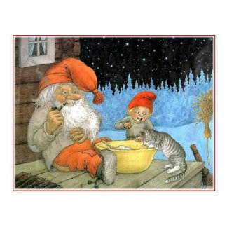 Tomte Nisse, aka Santa Clause Postcard