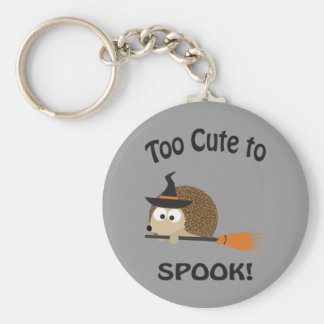 Too Cute To Spook! Hedgehog Witch Basic Round Button Key Ring