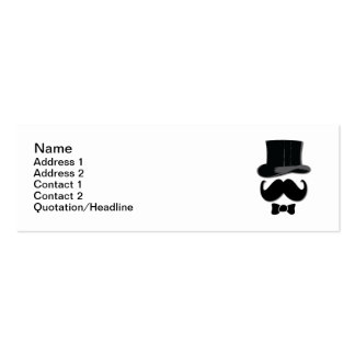 Top Hat and Mustache Pack Of Skinny Business Cards