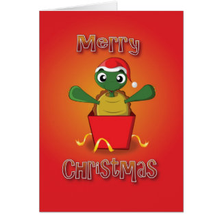 tortoise - box - merry christmas greeting card