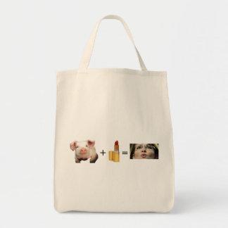Tote Bag  / Pig + Lip Stick = Sara Palin