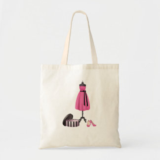 Tote with Painting of a pink dress, box and pink h Budget Tote Bag