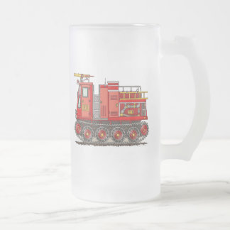Track Fire Truck Frosted Glass Mug