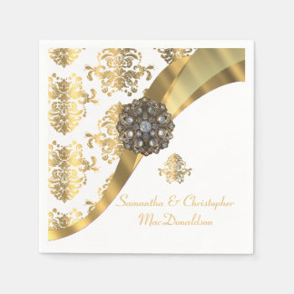 Traditional white and gold damask wedding paper napkin