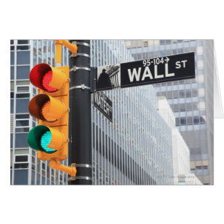 Traffic Light and Wall Street Sign Greeting Card