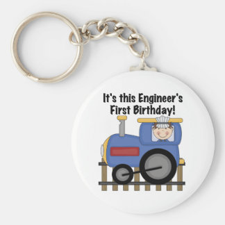 Train Engineer 1st Birthday Tshirts and gifts Basic Round Button Key Ring