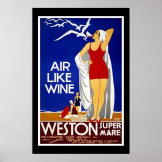 Travel Poster Vintage Weston Train New York
