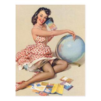 Travel the World Pin Up Girl Postcard