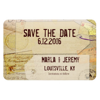 Travel theme save the date magnet