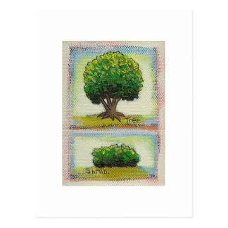 Tree and Shrub - Tiny Art miniature painting Postcard