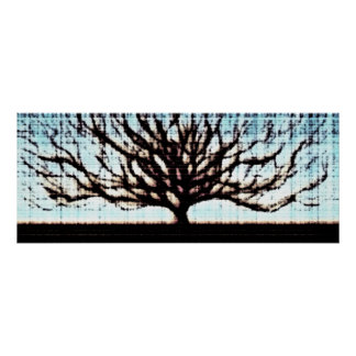 Tree Brown Blue Poster
