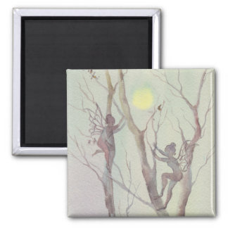 TREE FAERIES by SHARON SHARPE Square Magnet