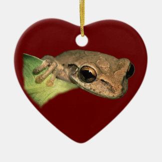 tree frog ceramic heart decoration
