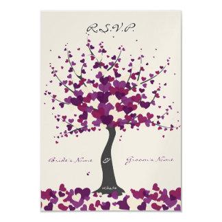 Tree Of Hearts - Purple Wedding RSVP 9 Cm X 13 Cm Invitation Card