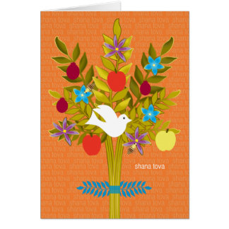 Tree of Life Rosh Hashanah Dove Flowers and Fruit Greeting Card