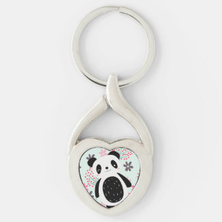 Trees, Flowers, and Panda Bears Silver-Colored Twisted Heart Key Ring