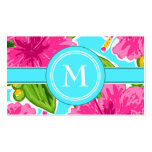 Trending Teal and Pink Tropical Floral Initial Pack Of Standard Business Cards