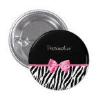 Trendy Black And White Zebra Print Pink Ribbon 3 Cm Round Badge